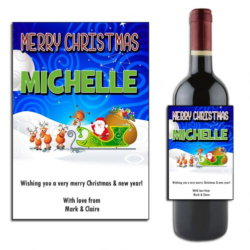Personalised Christmas Santa Wine or Champagne Bottle Label N170